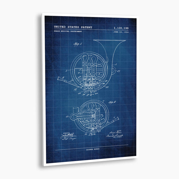 Brass Horn Patent Poster; Patent Artwork