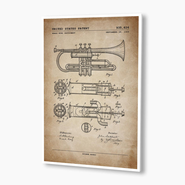 Brass Wind Trumpet Patent Poster; Patent Artwork