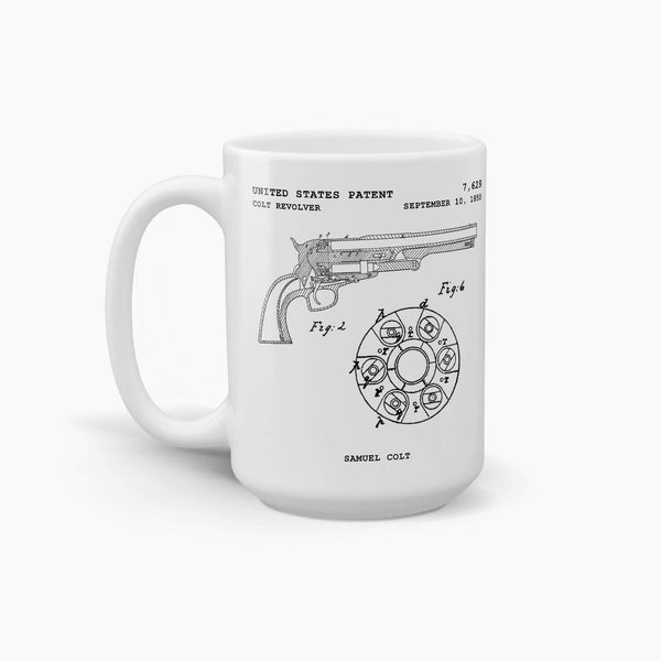 Colt Revolver Patent Coffee Mug; Military Drinkware