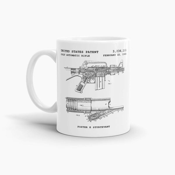 Colt AR-15 Automatic Rifle Patent Coffee Mug; Military Drinkware