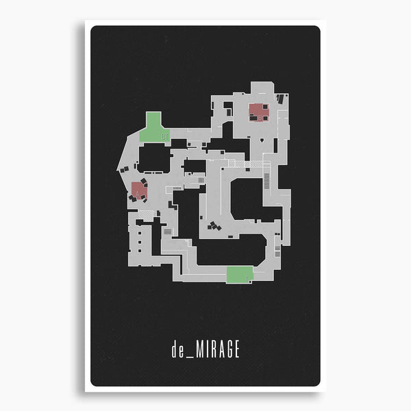 CSGO Mirage Map Layout Poster, Gaming Poster