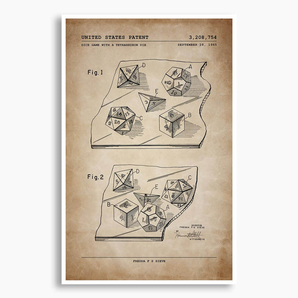Dice Game Patent Poster; Patent Artwork