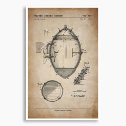 Diving Vessel Patent Poster; Patent Artwork, Antique Parch,ent