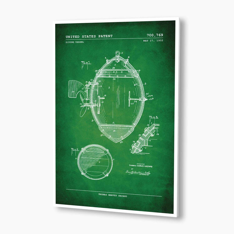 Diving Vessel Patent Poster; Patent Artwork