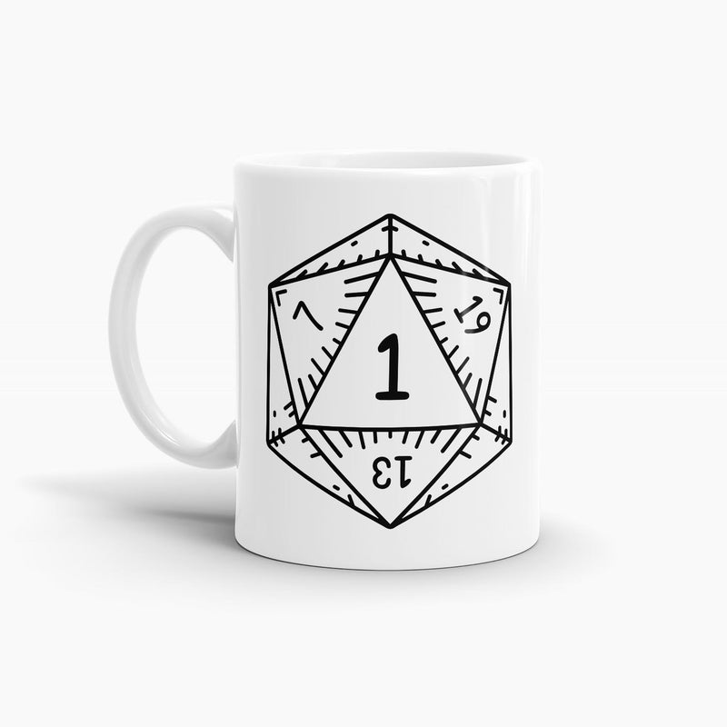 Dungeons and Dragons D20 Dice Natural 1 Coffee Mug