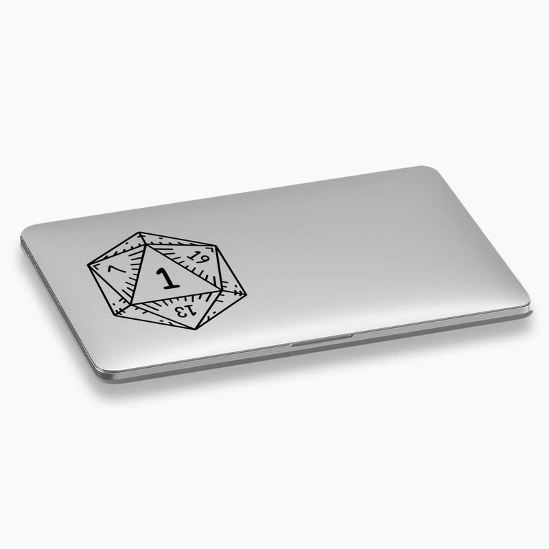 Dungeons and Dragons D20 Dice Natural 1 Vinyl Decal; Gaming Decals