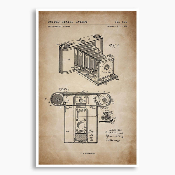 Early Camera Patent Poster; Patent Artwork