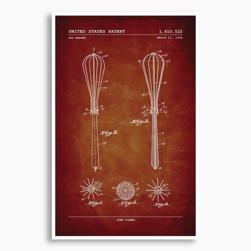 Egg Beater Patent Poster; Patent Artwork
