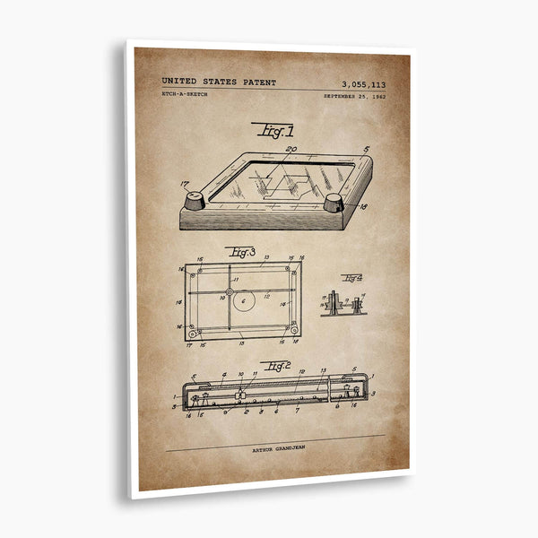Etch-A-Sketch Patent Poster; Patent Artwork, Antique Parchment