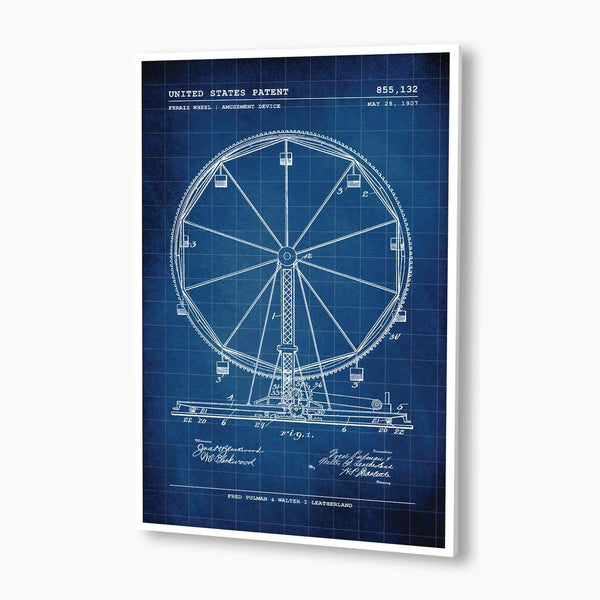 Ferris Wheel Patent Poster; Patent Artwork