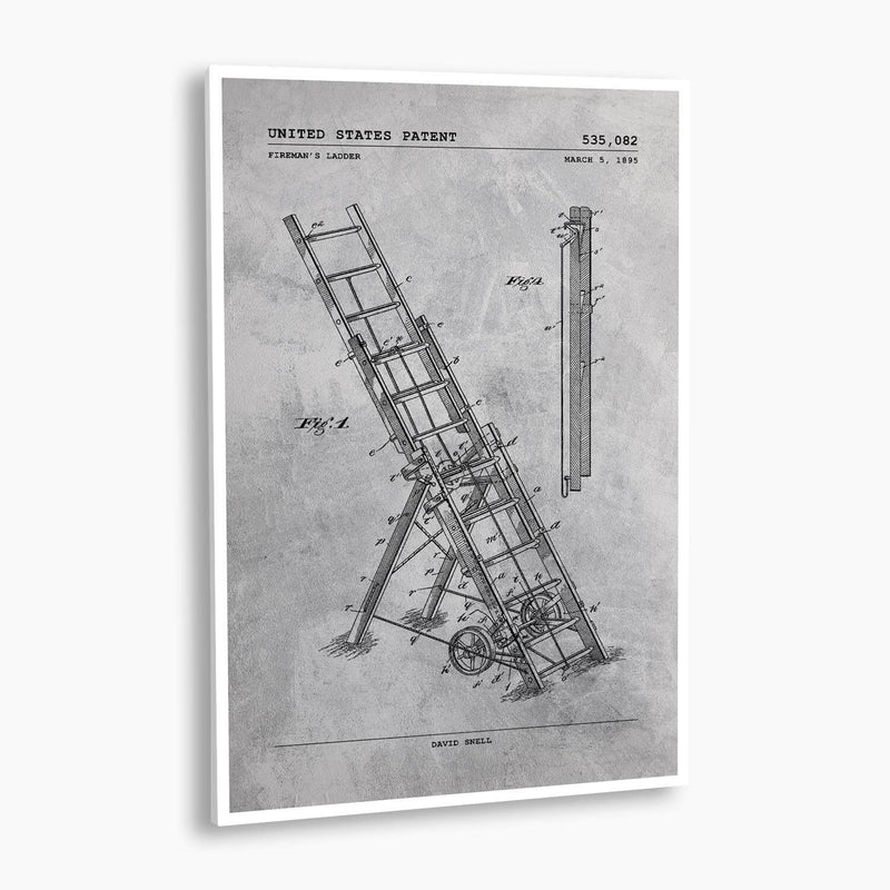 Fire Ladder Patent Poster; Patent Artwork