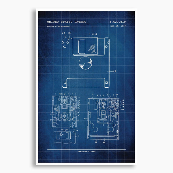 Floppy Disk Patent Poster; Patent Artwork