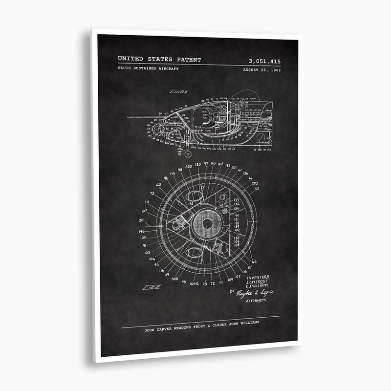 Fluid Sustained Aircraft Patent Poster; Patent Artwork