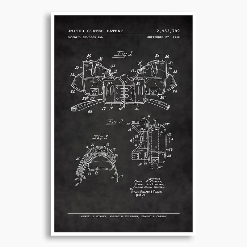 Football Shoulder Pads Patent Poster; Patent Artwork