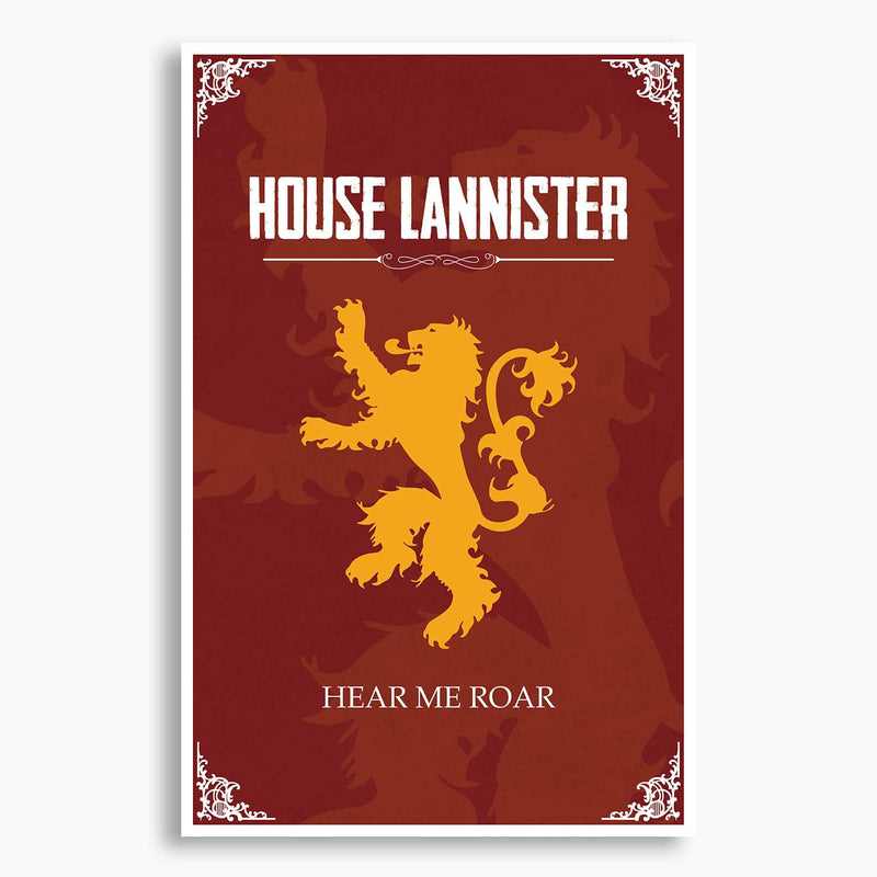 Game of Thrones - House Lannister Poster; Pop Culture Decor