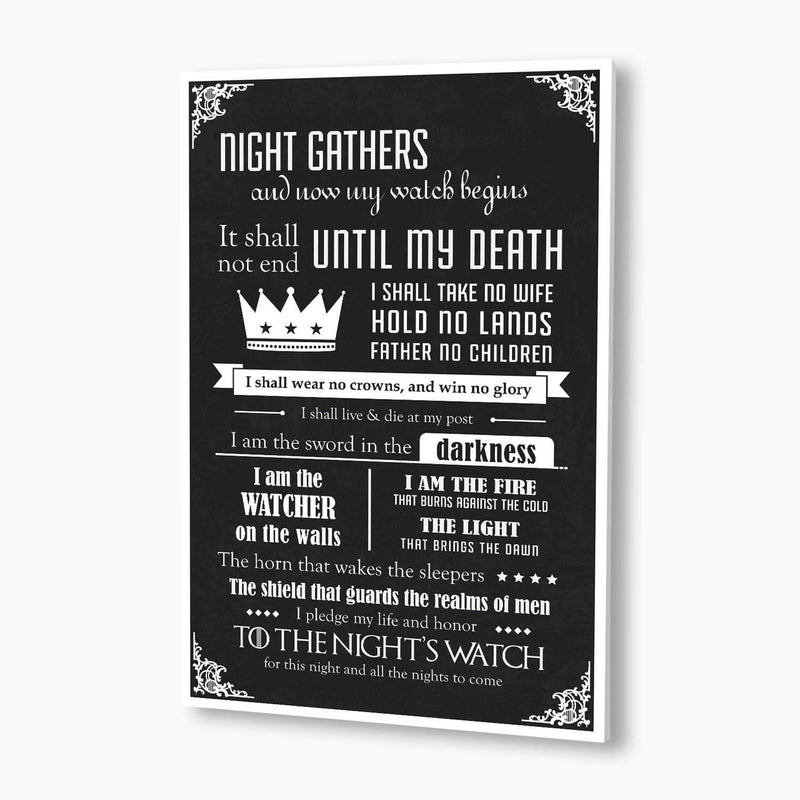 Game Of Thrones - Night's Watch Oath Poster; Pop Culture Decor