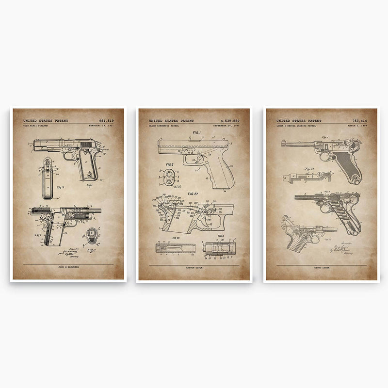 Handgun Patent Poster Collection; Patent Artwork