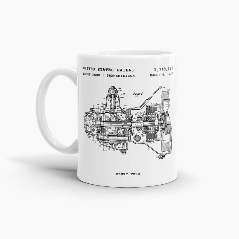 Henry Ford Transmission Patent Coffee Mug; Patent Drinkware