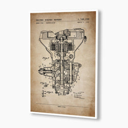 Henry Ford Transmission Patent Poster; Patent Artwork, Antique Parchment