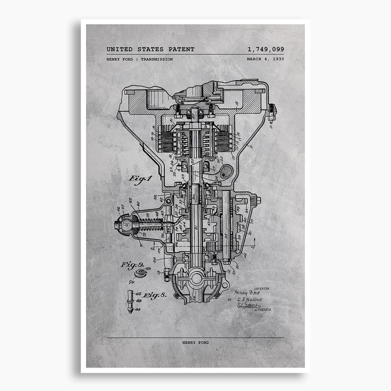 Henry Ford Transmission Patent Poster; Patent Artwork