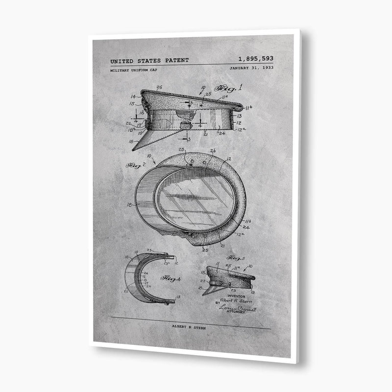 Military Uniform Cap Patent Poster; Patent Artwork