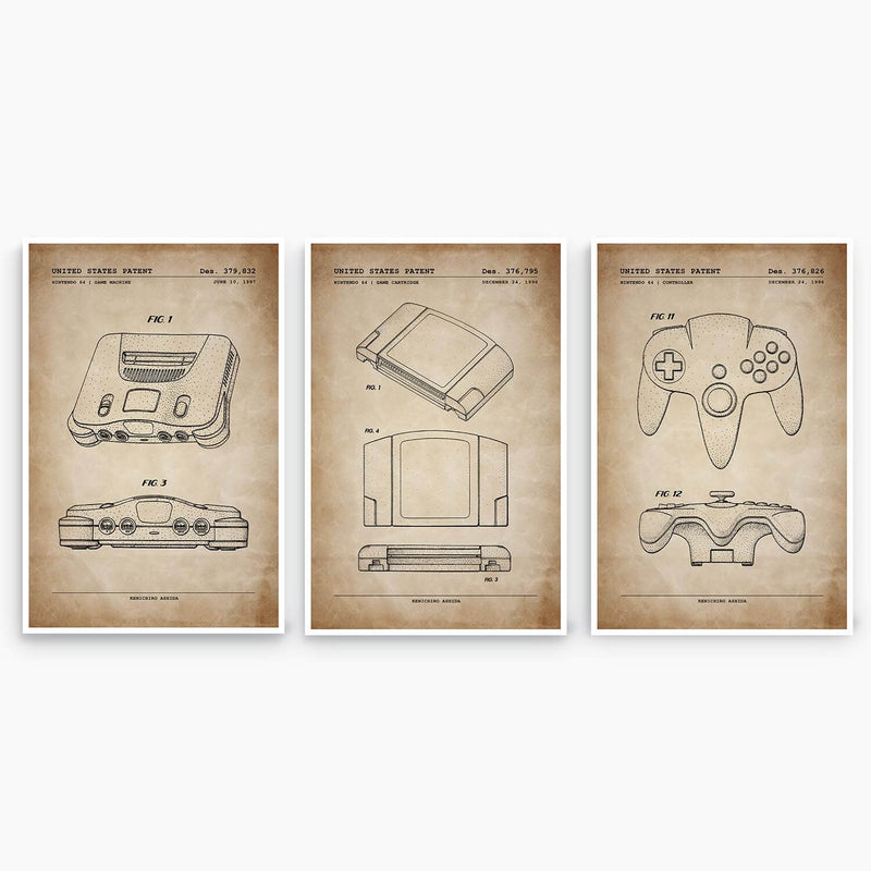 Nintendo 64 Patent Poster Collection; Patent Artwork