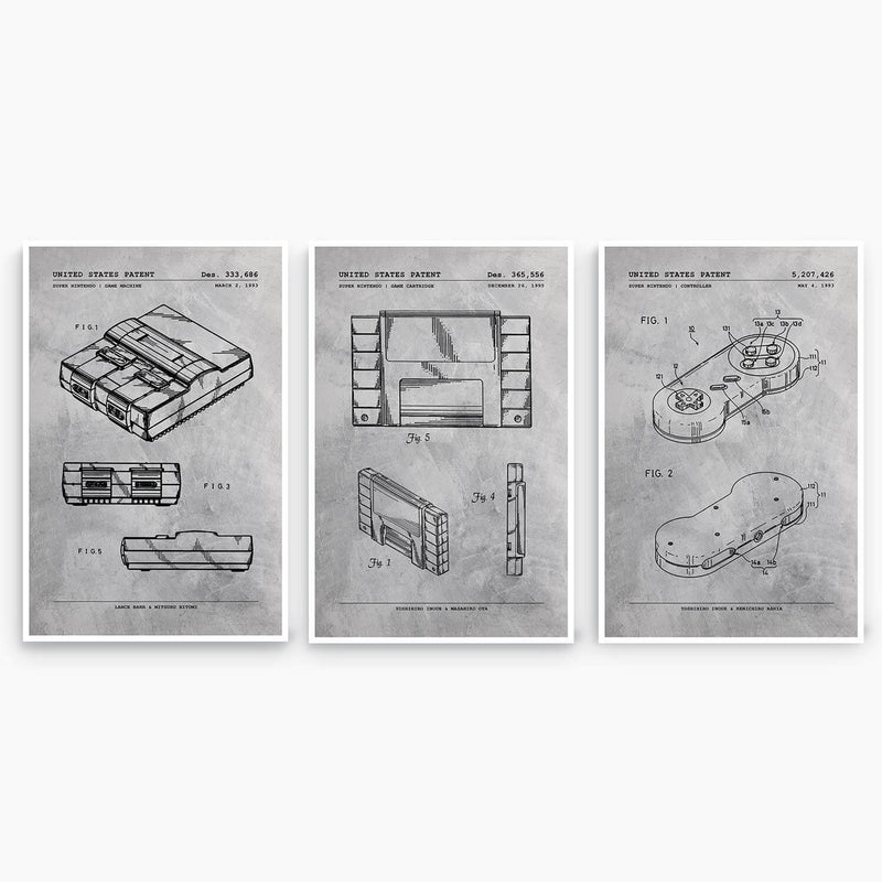 Nintendo SNES Patent Poster Collection; Patent Artwork