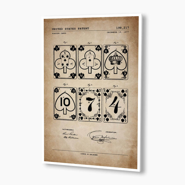 Playing Cards Patent Poster; Patent Artwork