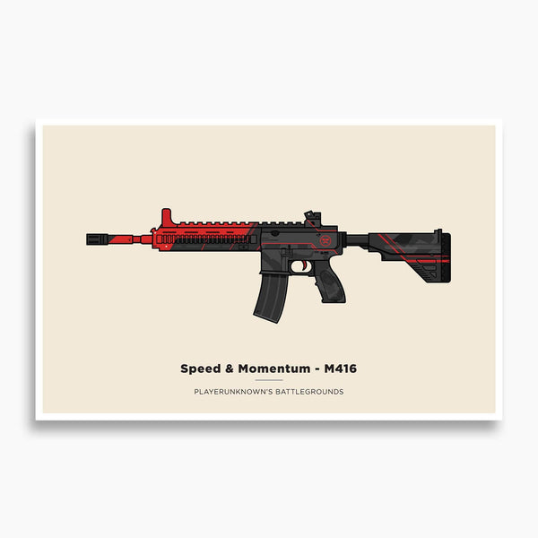 PUBG - Dr DisRespect Speed and Momentum M416 Illustration; Gaming Poster