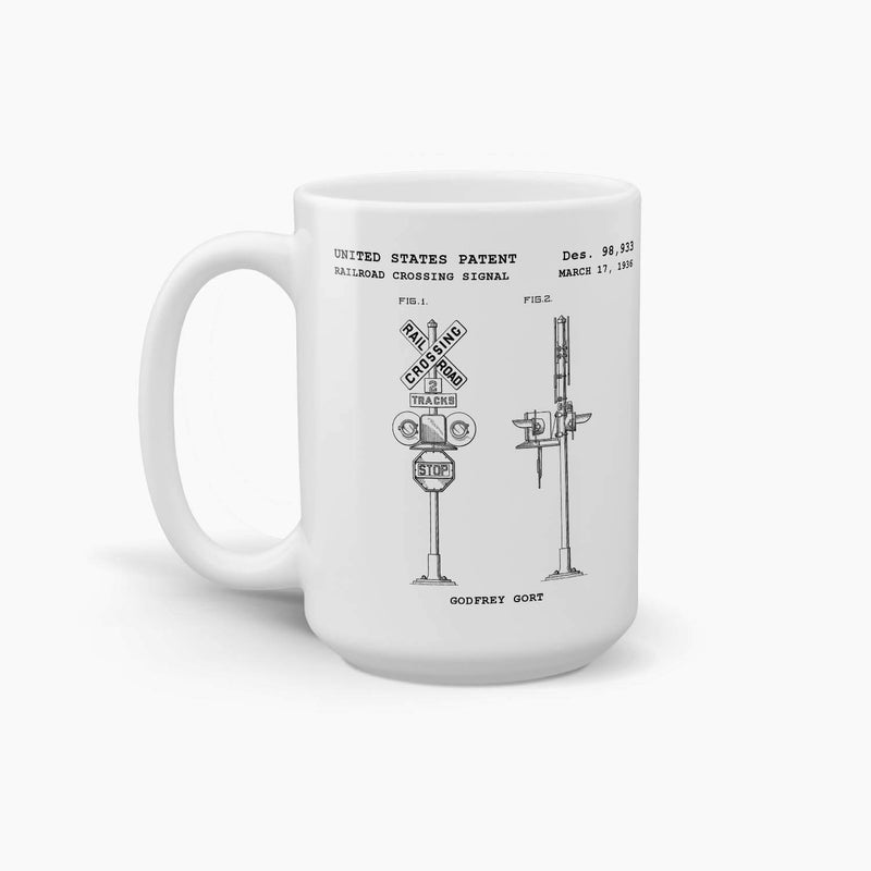 Railroad Crossing Signal Patent Coffee Mug; Premium Patent Drinkware