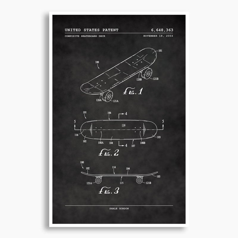 Skateboard Deck Patent Poster; Patent Artwork
