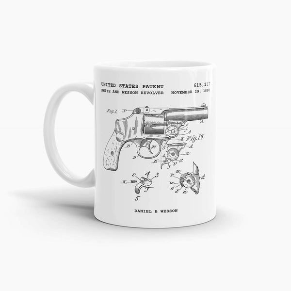 Smith and Wesson Revolver Patent Coffee Mug; Premium Patent Drinkware