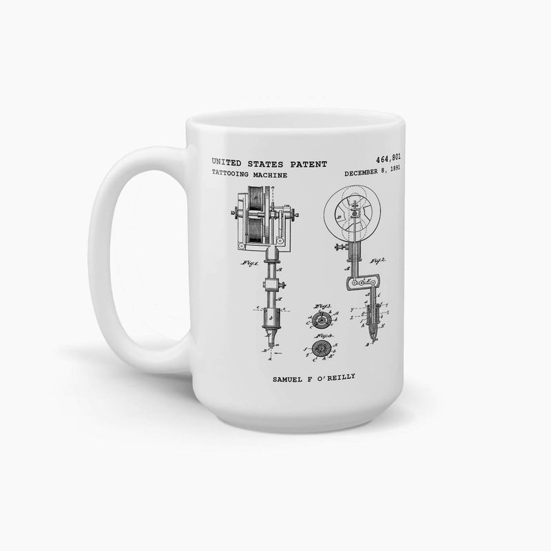 Tattooing Machine Patent Coffee Mug; Premium Patent Drinkware