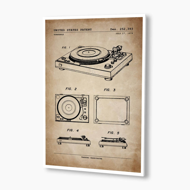 1970s Vinyl Record Turntable Patent Poster; Patent Artwork