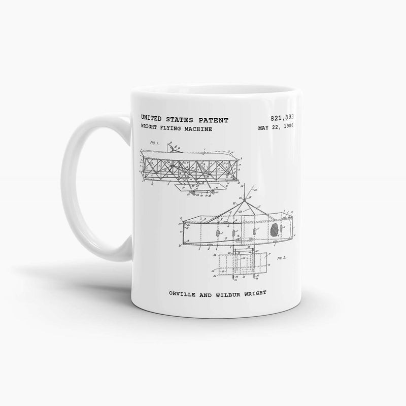 Wright Flying Machine Patent Coffee Mug; Premium Patent Drinkware