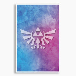 Zelda - Triforce Watercolor Poster; Gaming Decor
