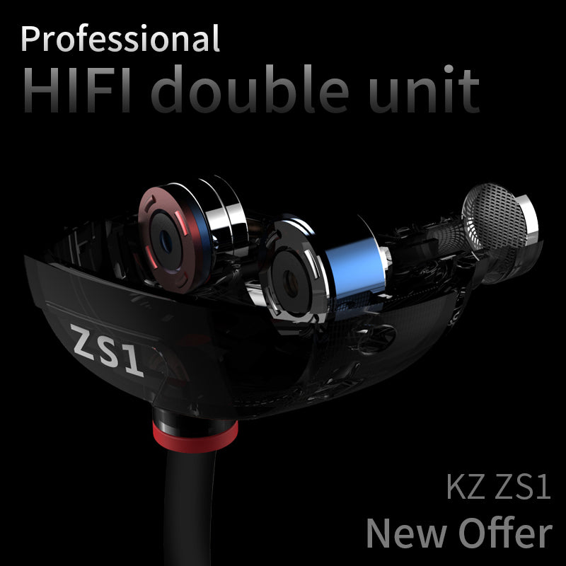 ZS1 IEM Headphones with Dual Drivers Extra Bass and Wide Sound Field