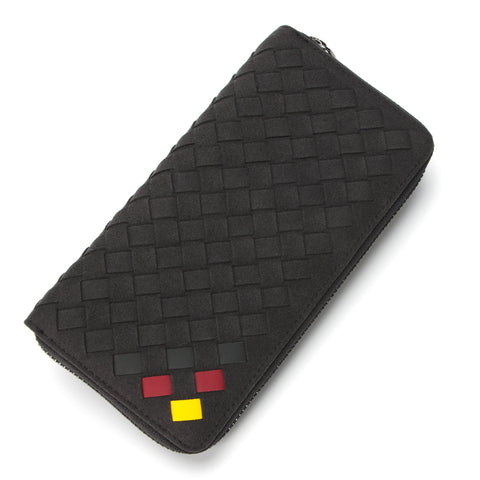 Italian Suede Zip-Around Wallet Red&Yellow