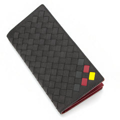 Italian Suede Bi-Fold Continental Wallet Red&Yellow