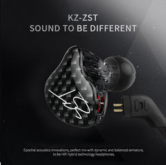 ZST IEM Dynamic Hybrid Dual Driver In Ear Earphones with Detachable Cable(Carbon)
