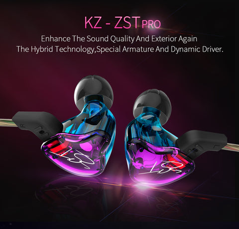 ZST IEM Dynamic Hybrid Dual Driver In Ear Earphones with Detachable Cable (Colorful)