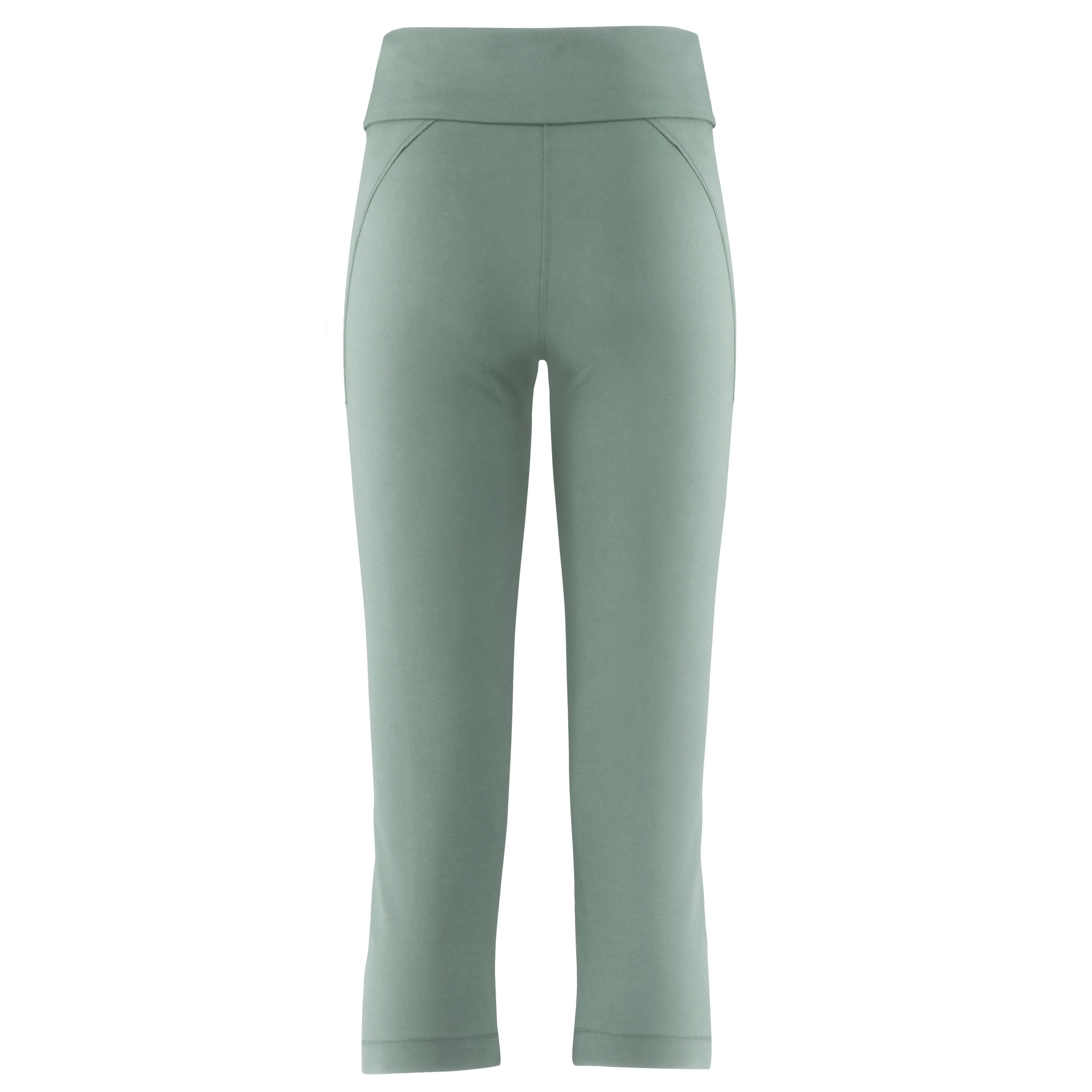 "Softe Yogahose ""Anastacia"", nightgreen - Capri Leggings mit Umschlagbund - PS - Kamah Yoga and Style"