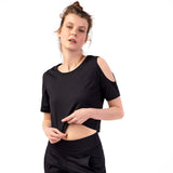 "Yoga-Top ""Raffaela"", black - Cropped Top mit Schulter Cut Outs - Kamah Yoga and Style"