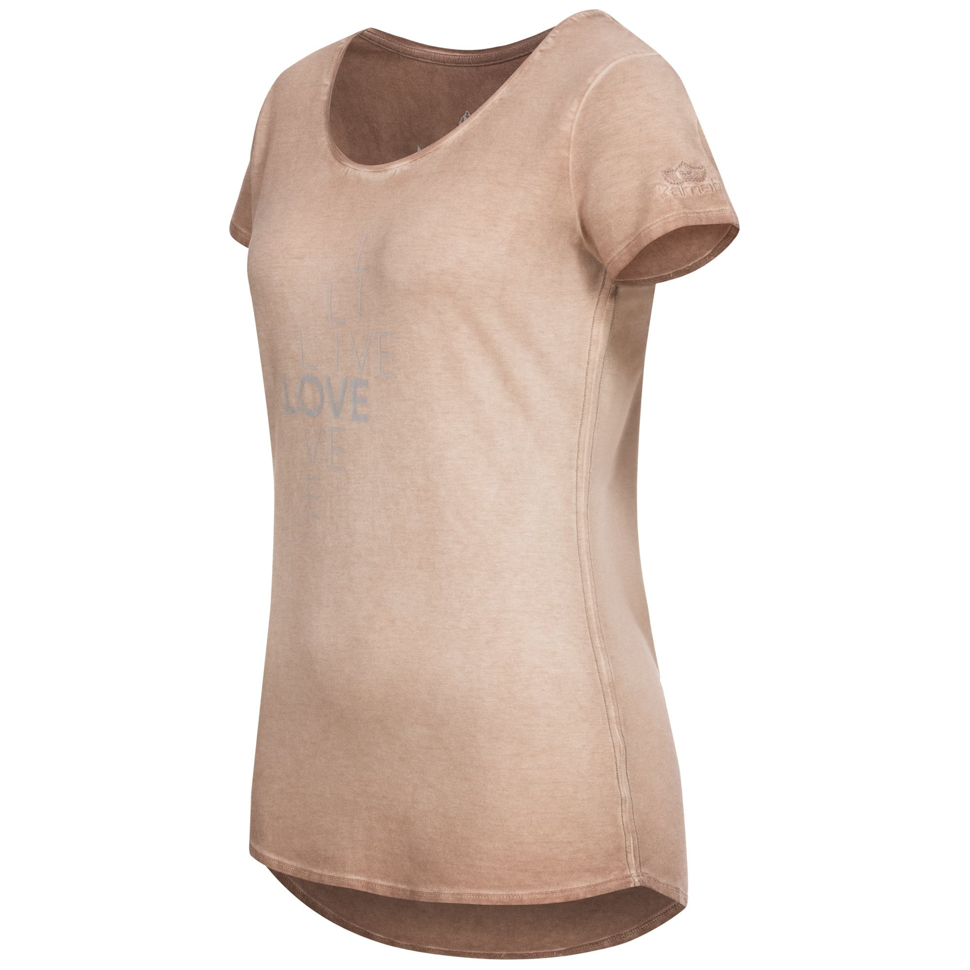 "Yoga-Shirt ""Waris"", nougat - Weiches Basic T-Shirt mit Motto-Print - Kamah Yoga and Style"