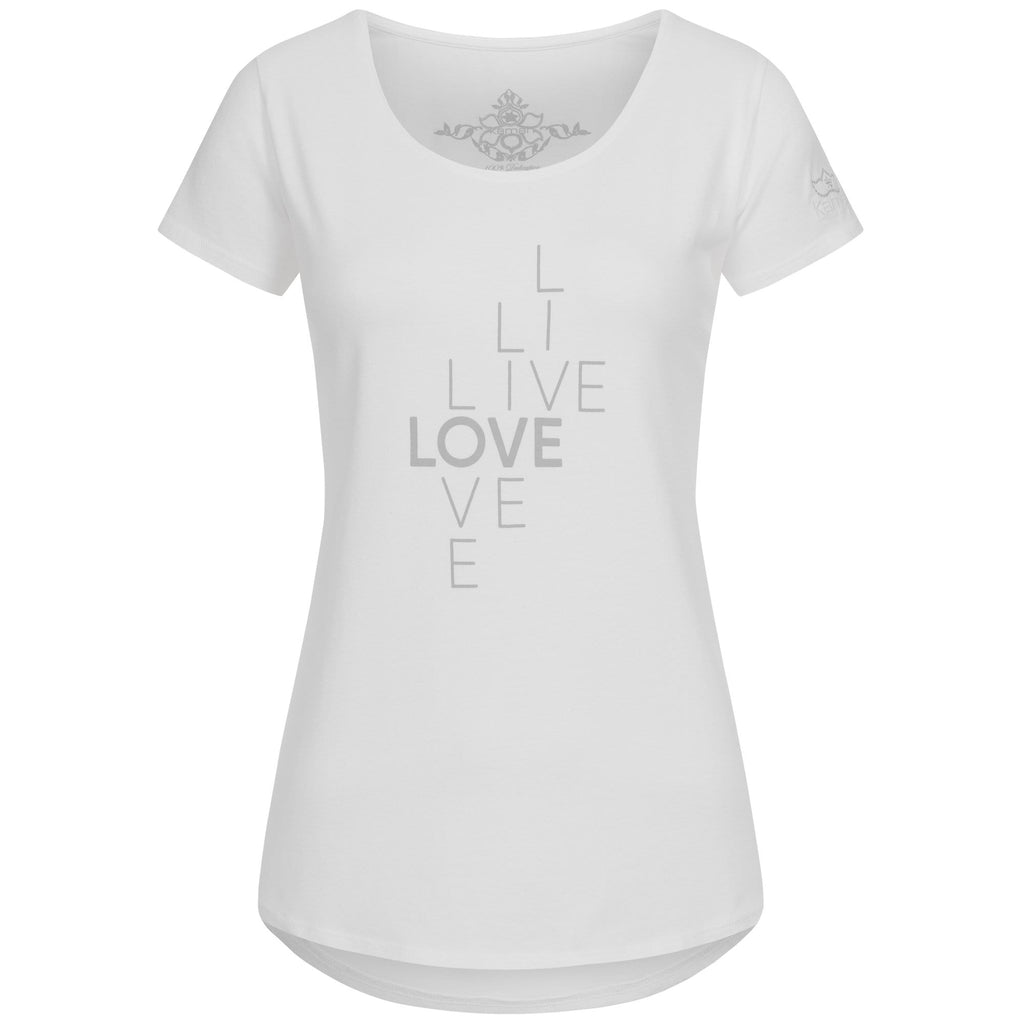 "Yoga-Shirt ""Waris"", white - Weiches Basic T-Shirt mit Motto-Print - Kamah Yoga and Style"