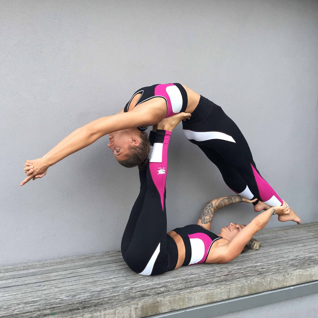 "Yoga Legging ""Roxy"", black/fuchsia/white - Active Tights mit Colour Blocking - Kamah Yoga and Style"