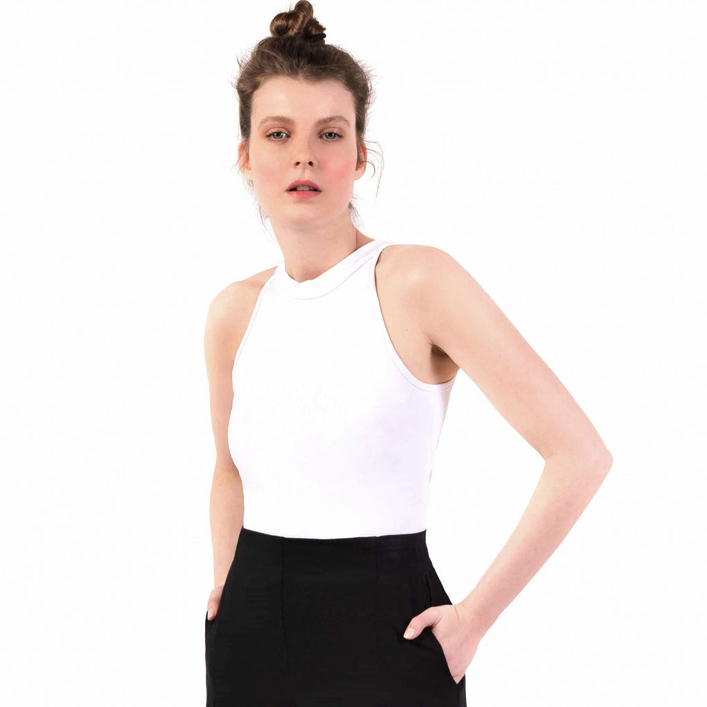 "Yoga-Top ""Samelia"", white/white - Schnelltrocknenedes Acitive Top aus Funktionsmaterial - Kamah Yoga and Style"