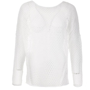 "Yoga-Top ""Sungela"", white - Pullover aus Mesh - Kamah Yoga and Style"