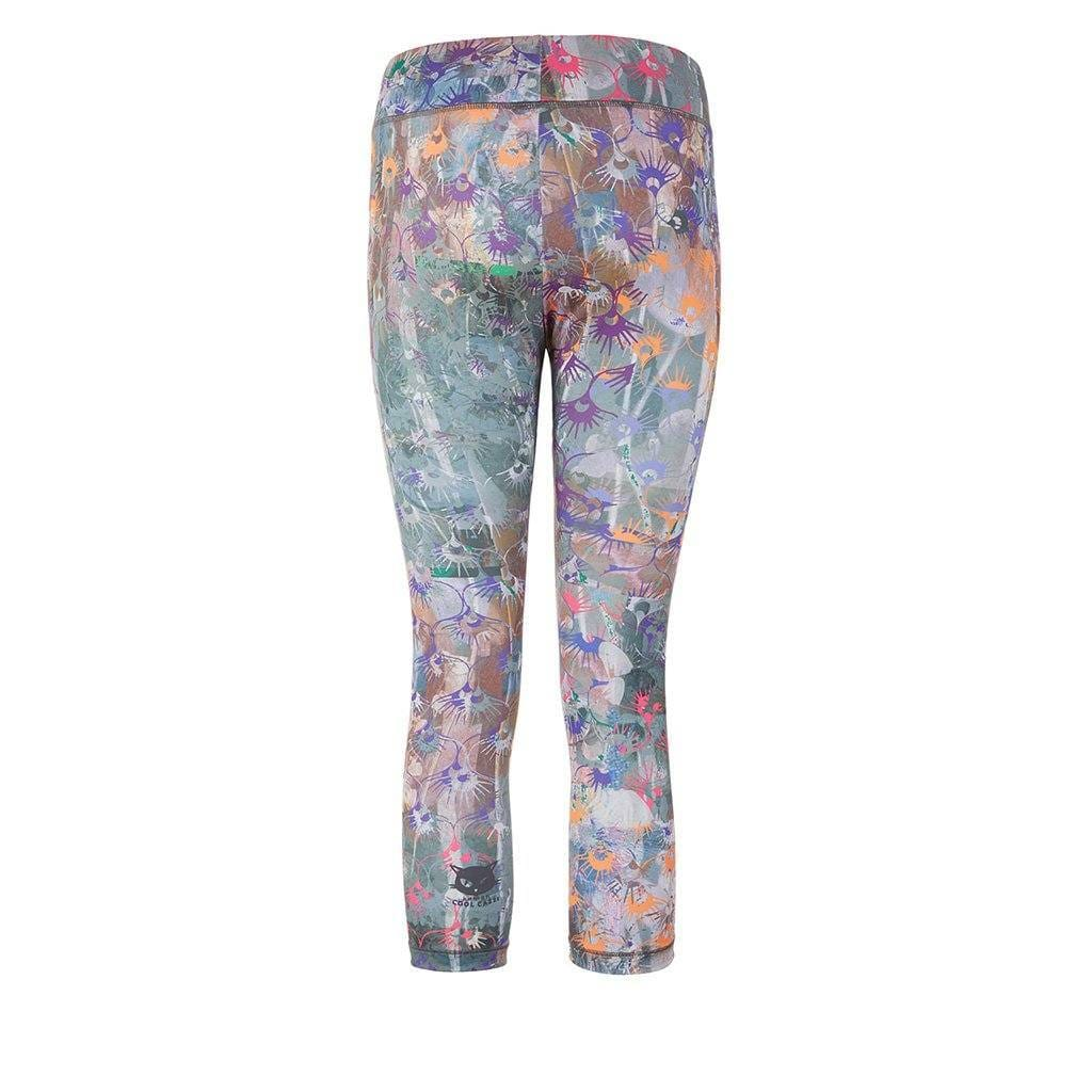 "Yoga Legging ""Paris"", Flowers - stylische Capri Pants mit Allover Print - Kamah Yoga and Style"