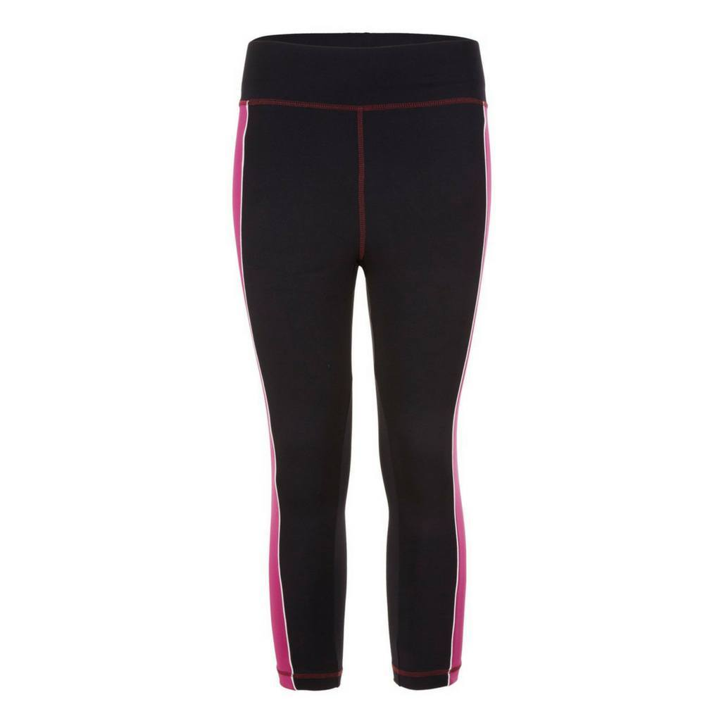 "Yoga-Leggings ""Polly"", black/fuchsia/white - Active Capri Pants mit hohem Elastikbund - Kamah Yoga and Style"